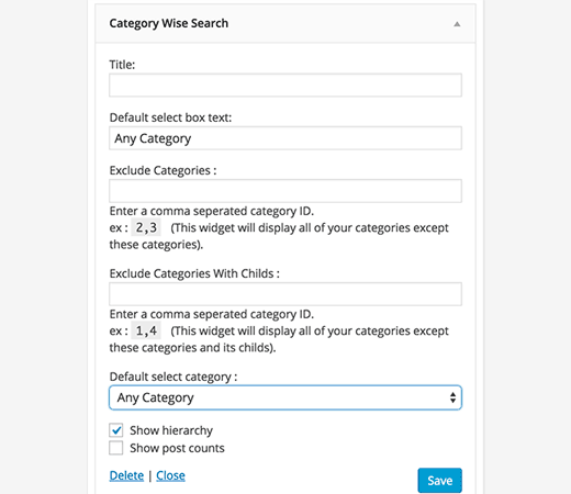Search by Category Widget settings