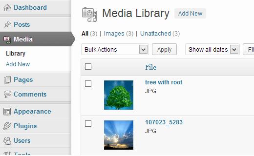 WordPress Media Settings Screen