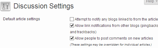Default comment settings for articles in WordPress