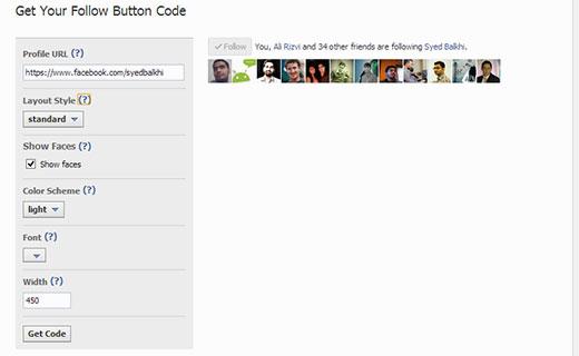 Manually adding Facebook follow button from Facebook social plugins website