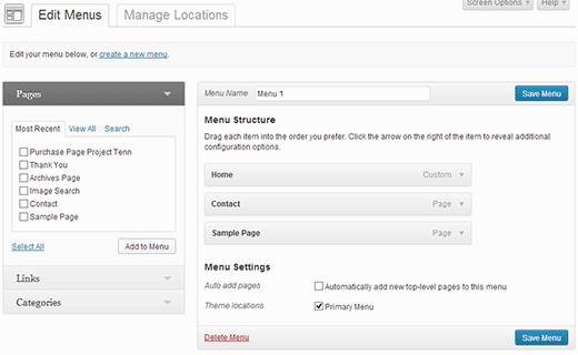 New UI for Menu System in WordPress 3.6