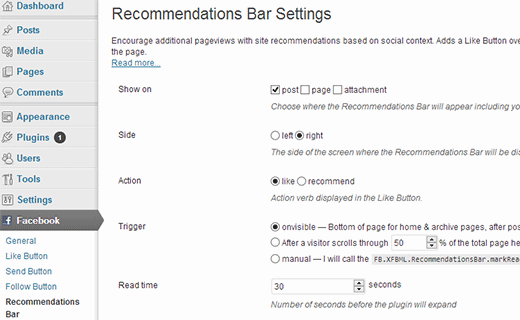 Facebook Recommendation bar settings