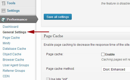W3 Total Cache General Settings Page