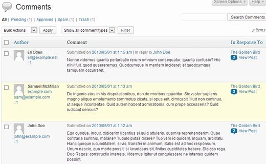 WordPress Comments Screen