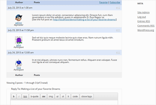 bbPress replies and topic reply form