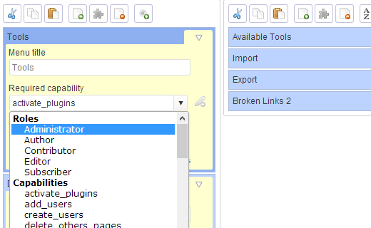 Choose menu visibility by user roles and capabilities