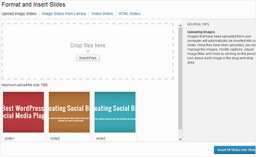 Uploading image slides in Soliloquy to create your WordPress slider