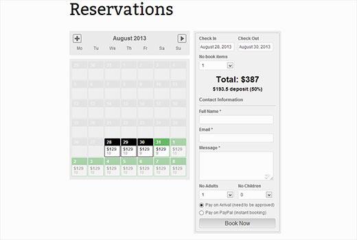 Hotel rooms booking calendar
