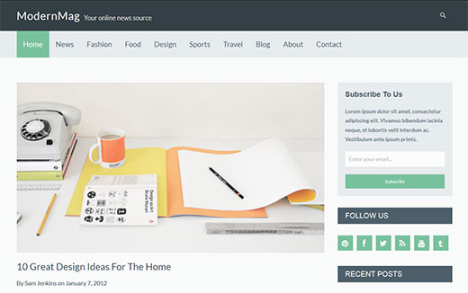 Modern Mag - Responsive WordPress Photography Theme