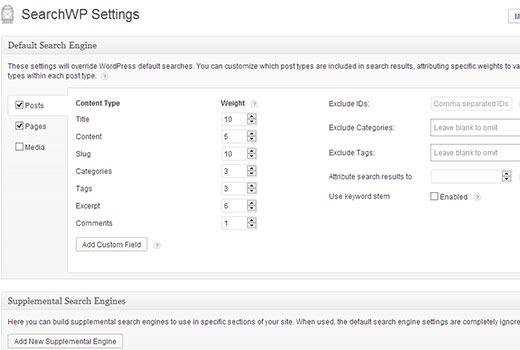 SearchWP Settings Screen