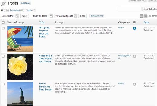 Customized posts screen in WordPress admin area