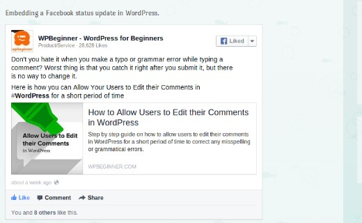 Embedding a Facebook Status Post in WordPress  using Facebook plugin