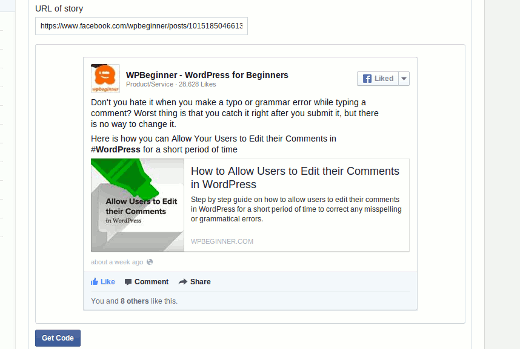 Getting code to manually embed Facebook posts in WordPress