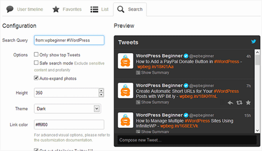 Adding selective tweets by using Twitter Widgets