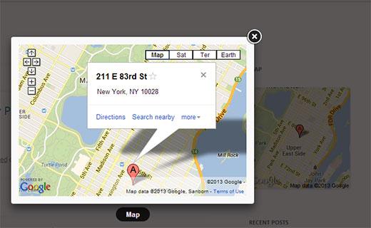 Google Maps Widget with Lightbox popup