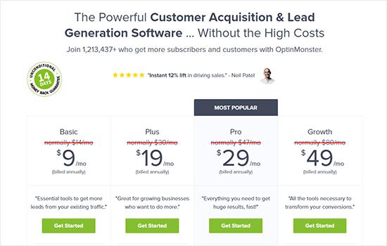 OptinMonster pricing page