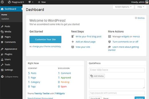WordPress Admin UI with MP6 plugin