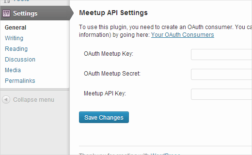 Meetup Widgets Settings