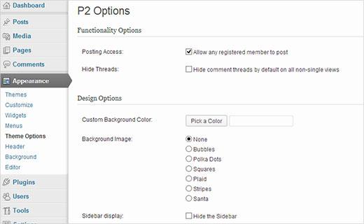 Configuring P2 Theme Options