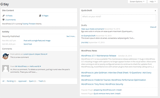 A new less bloated dashboard is expected in WordPress 3.8