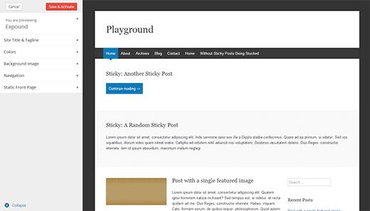 Theme preview screen in development versions of WordPress 3.8