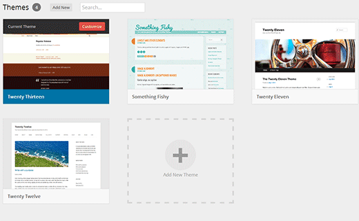 Themes screen in development versions of WordPress 3.8