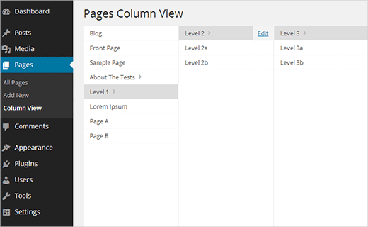 Column view for Pages in WordPress admin area