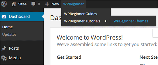 Adding a menu or group of custom links in WordPress toolbar