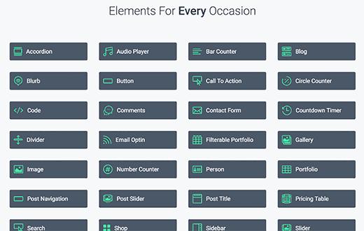 Éléments à glisser-déposer dans Divi - Un thème WordPress premium