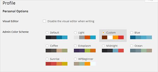 Custom color scheme among default WordPress admin color schemes