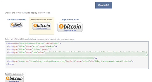 Choose your Bitcoin donate button size