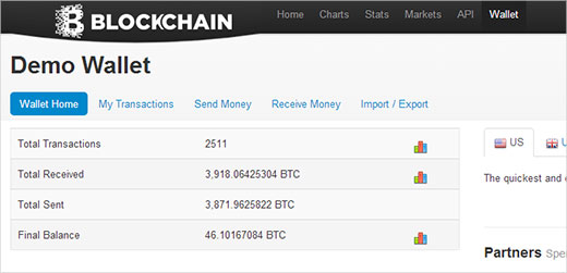 Blockchain.info a web based Bitcoin Wallet