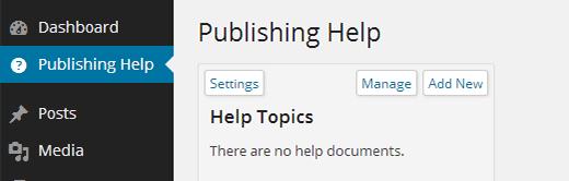 Main screen of WP Help plugin