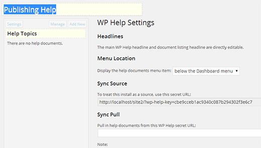 WP Help Settings