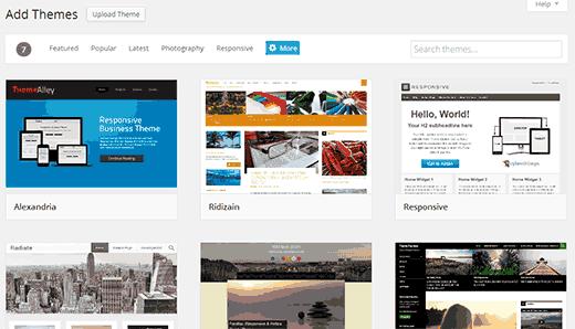 Add new theme screen in WordPress 3.9