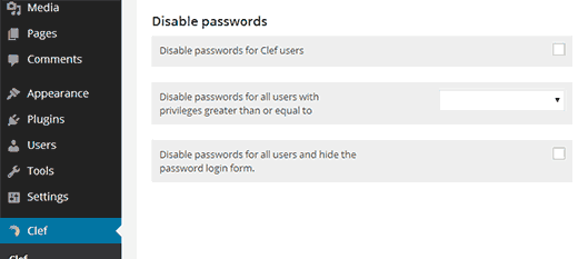 Disable WordPress passwords when using Clef