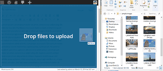 Simply drag images to the editor for upload