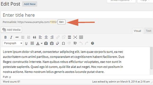 Editing post slug in WordPress