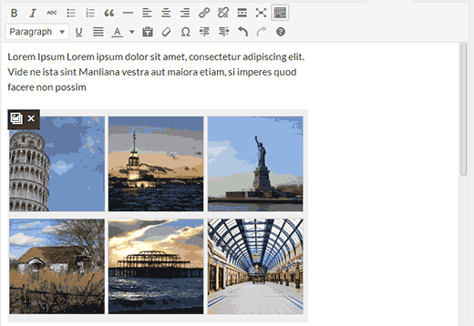 Live gallery previews inside post editor