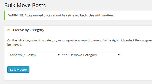 Moving posts in bulk from one category to another