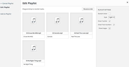 Arranging a playlist in WordPress media uploader