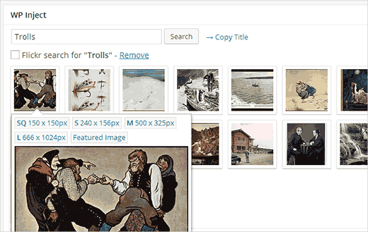 Searching Flickr directly from WordPress