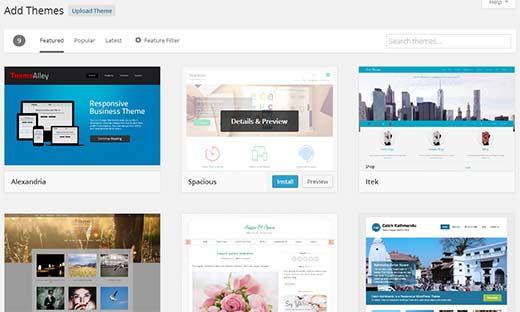 Improved add new theme screen in WordPress 3.9