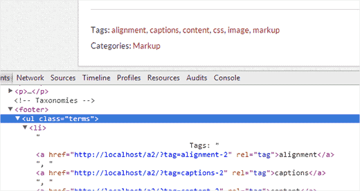 Finding the css class used by the theme for tags