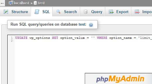 phpMyAdmin SQL Query