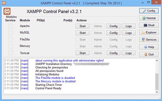 XAMPP Control Center