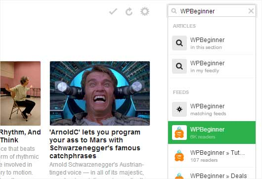 Subscribing to WPBeginner using Feedly in Google Chrome