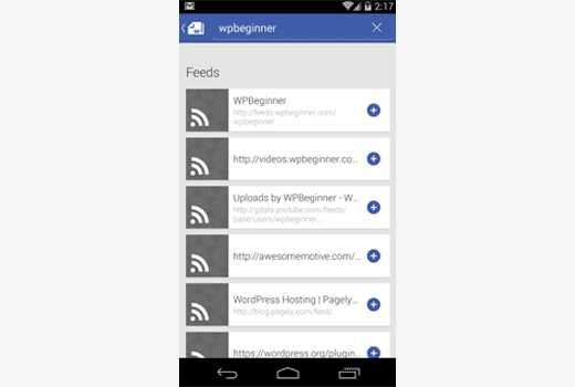 Subscribing WPBeginner using Google Play Newsstand on Android
