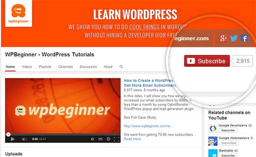 Subscribe to WPBeginner on YouTube
