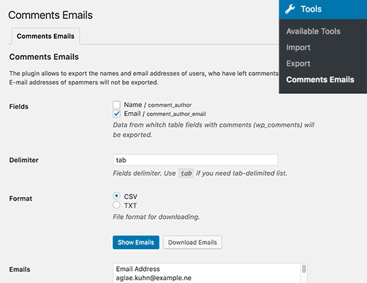 Export comment author email address in WordPress